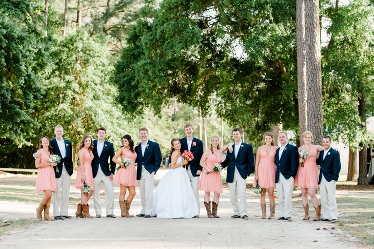 Navy And Coral Wedding.Coral And Navy Wedding Party
