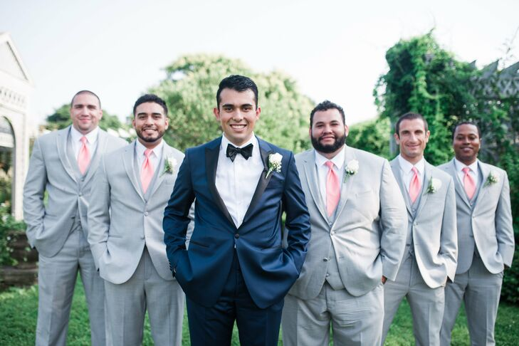 Gray Groomsmen Attire With Pink Ties