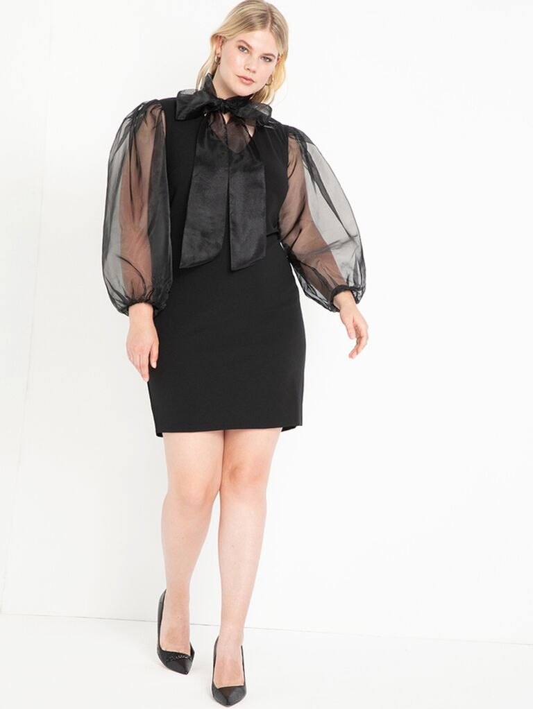 Black mini dress with organza sleeves and tie neck
