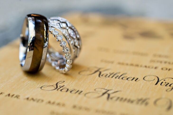 A polished wood insert added a unique, earthy touch to Steve's wedding band.