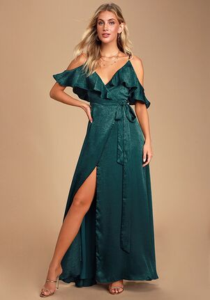 Lulus Moriah Emerald Green Satin Wrap Maxi Dress V-Neck Bridesmaid Dress