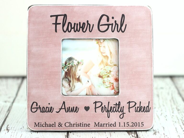 Pink flower girl picture frame