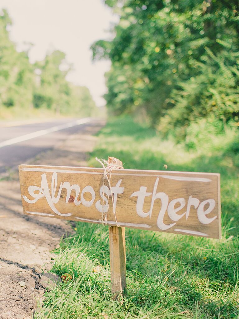 Rustic wedding sign for street directions