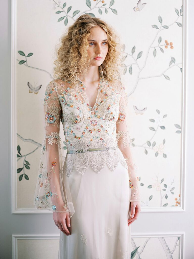 claire pettibone sheer lace colorful long sleeve gown