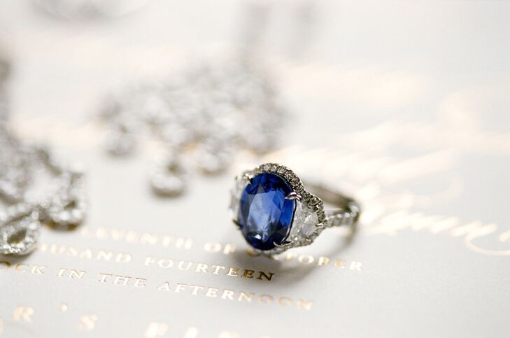 Sapphire Engagement Ring with Halo