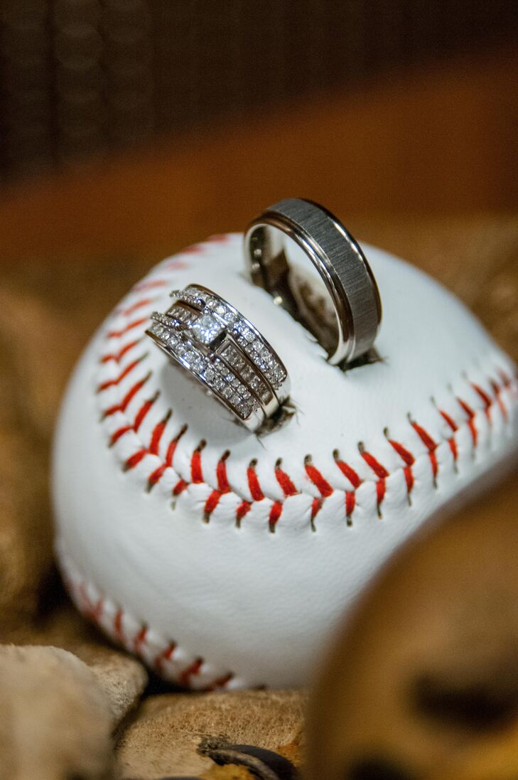 The rings were placed in a baseball.