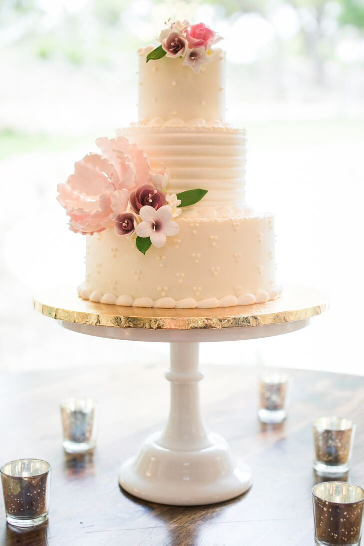 White Buttercream Wedding Cake With Sugar Flowers