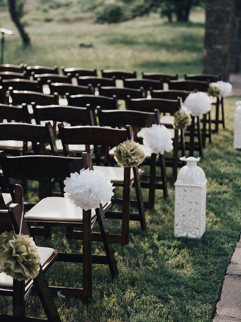 Tissue paper wedding ceremony decor
