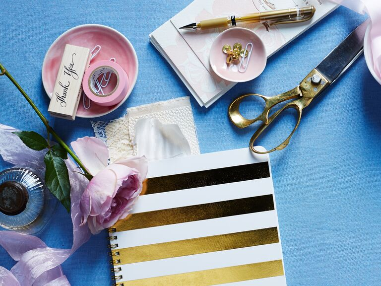 diy thank you note stamp and gold striped journal