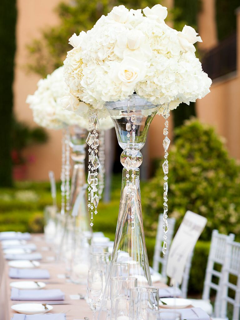 Elegant glass vases with crystals