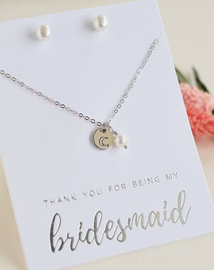 Dareth Colburn Engraved Initial Bridesmaid Jewelry Set (JS-1711-S-BR) Wedding Necklace photo