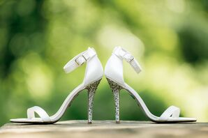 Strappy White, Crystal-Embellished Bridal Heels