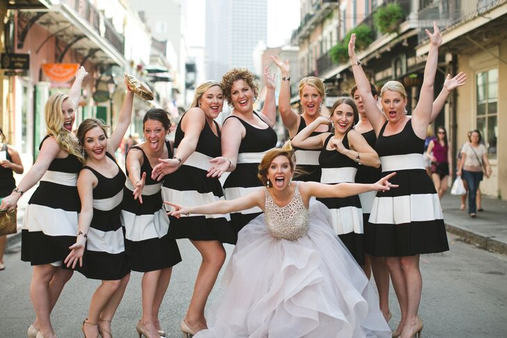 Virginia's bridesmaids wore black-and-white cocktail dresses by Ralph Lauren.