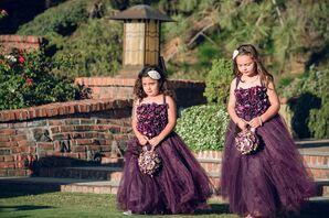 Plum-Colored Flower Girl Floral Dresses