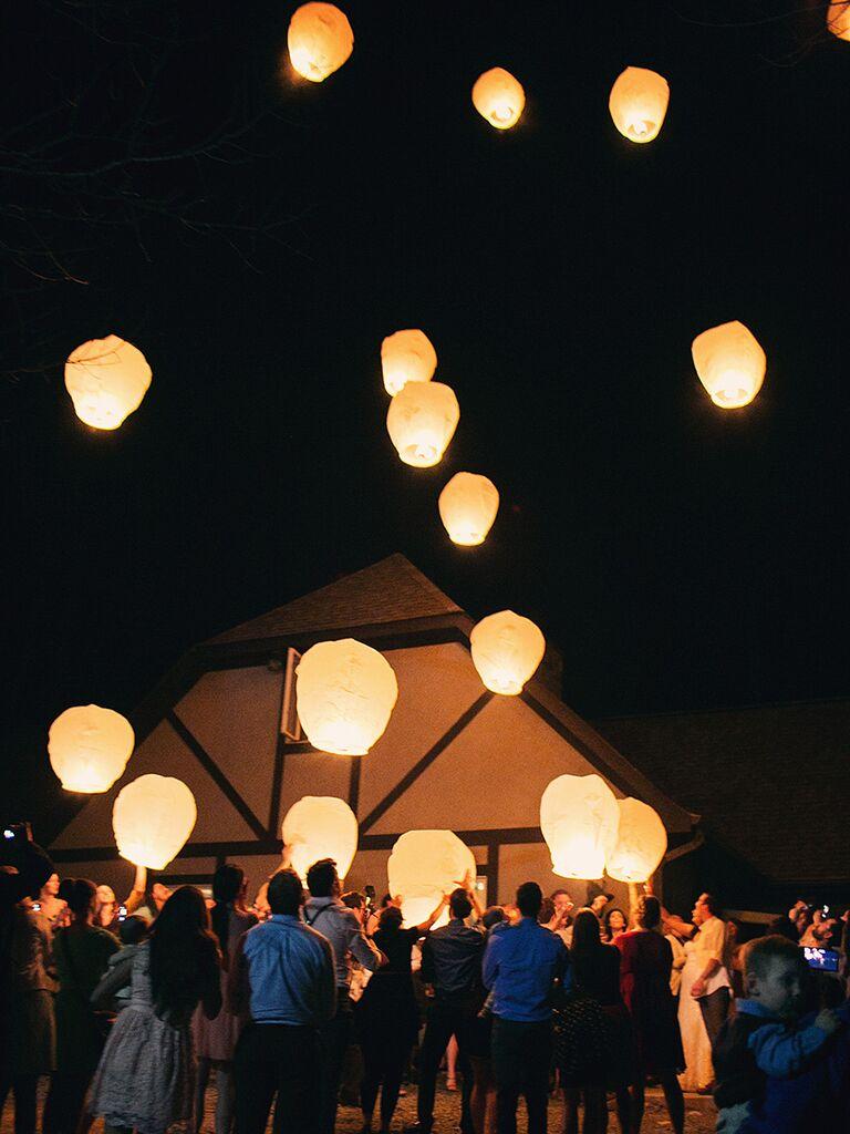 Couple releasing sky lantern