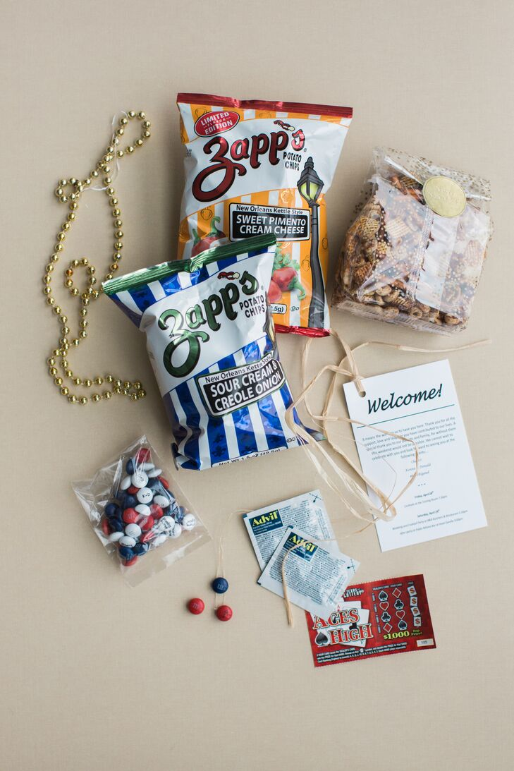 Welcome Bag with Zapp's Potato Chips, Beads and Advil