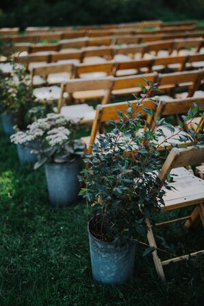 Rustic Flower Pot Aisle Decorations of Wildflowers