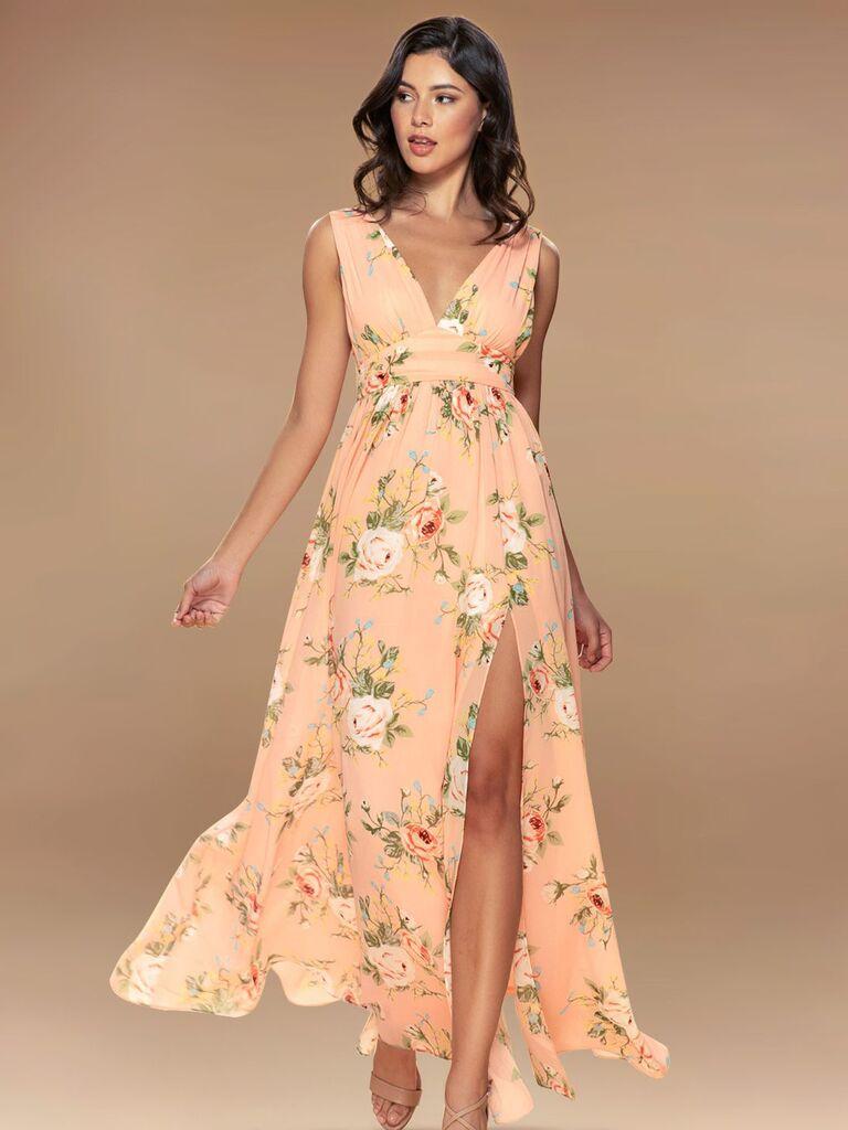 Pink floral maxi dress with V-neckline