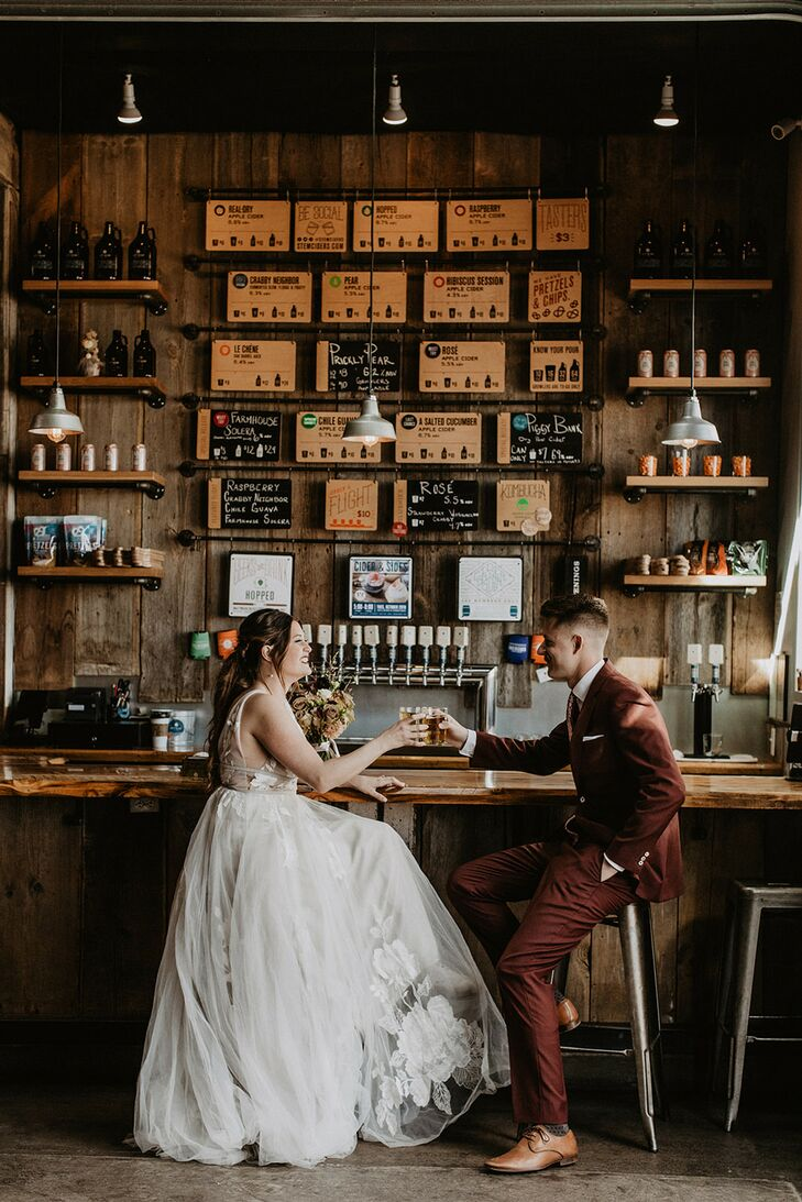 Couples Shares Drink Before Colorado Elopement