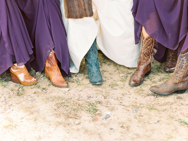 Staying true to the rustic Colorado location, Margaret and her bridesmaids donned cowboy boots with their rich purple gowns.
