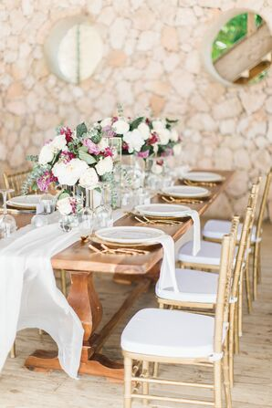 Silk Table Runners and Romantic Eucalyptus Centerpieces