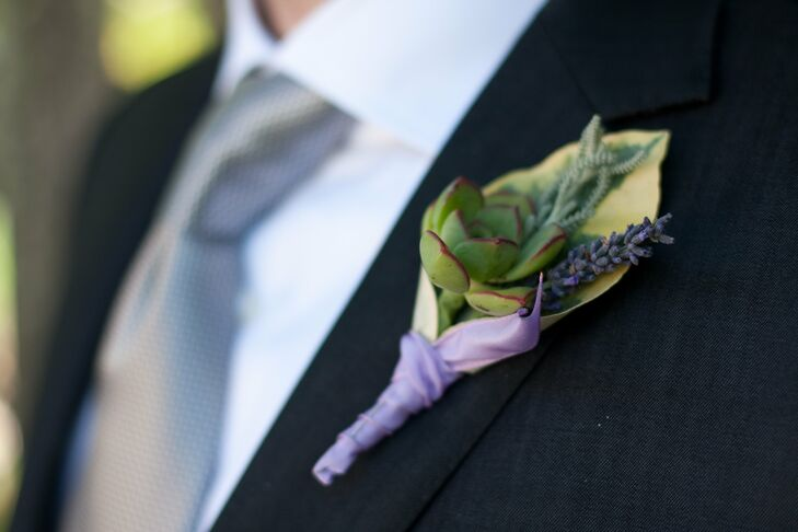 Dario's boutonniere included a simple mix of rustic elements including lavender and a succulent wrapped in light purple satin ribbon to match the event's color palette.