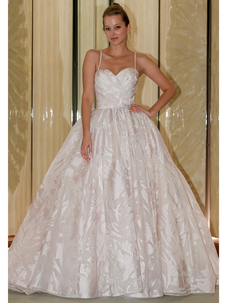 Randy Fenoli Fall 2019 Bridal Collection blush spaghetti strap ball gown with floral embroidery