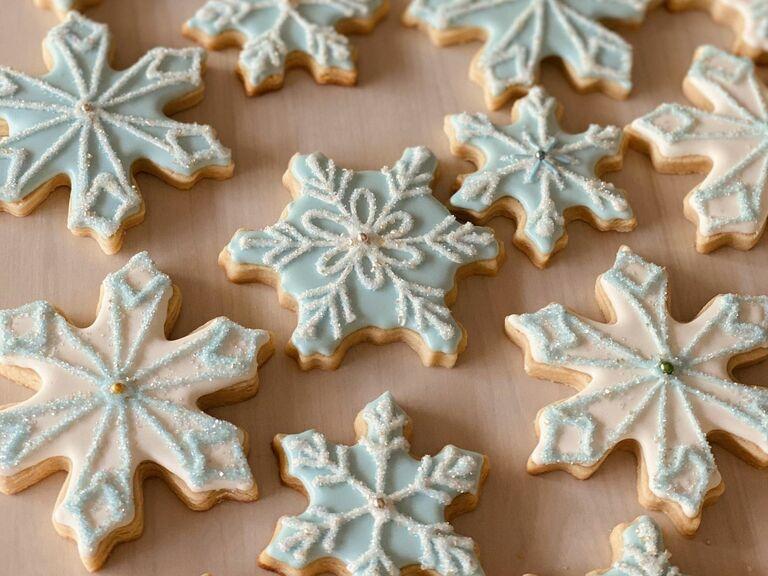 snowflake sugar cookies for winter wedding