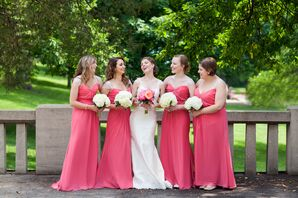 Coral Floor-Length Bridesmaid Dresses