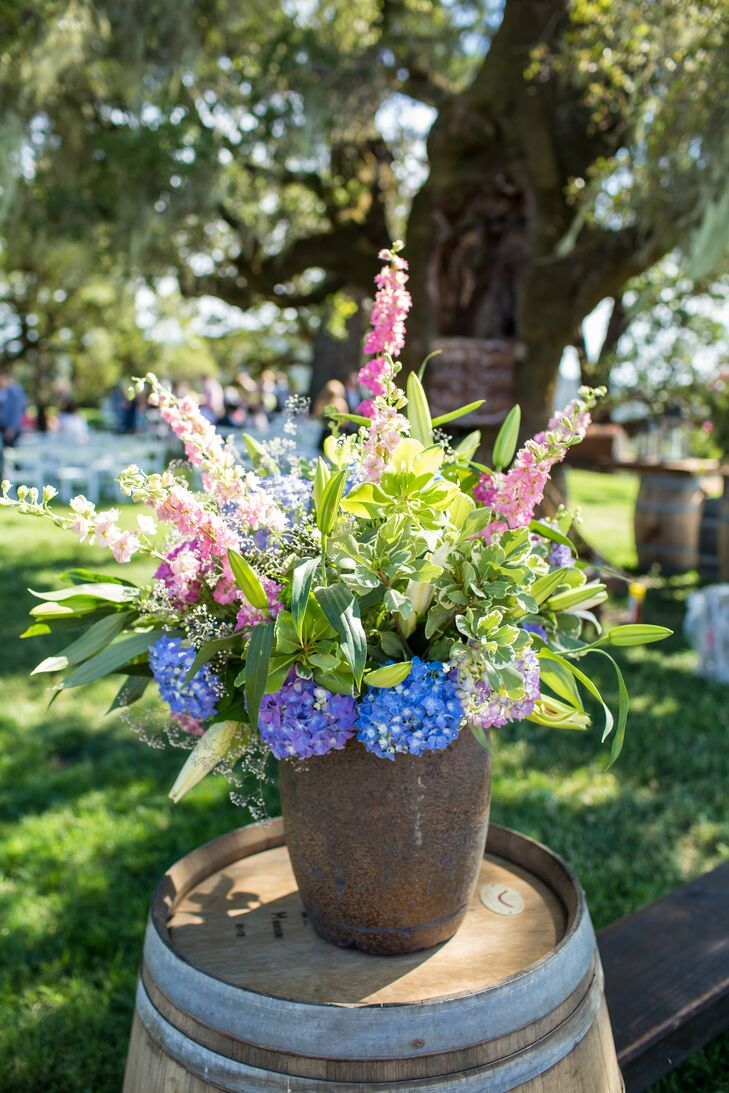 All of the flowers for the wedding were arranged by the couple's families and were sourced straight from Tyler's aunt's garden.