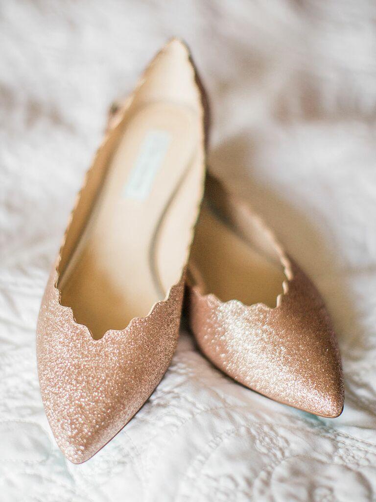 68e95bb0e Rose gold and glitter wedding shoe flats