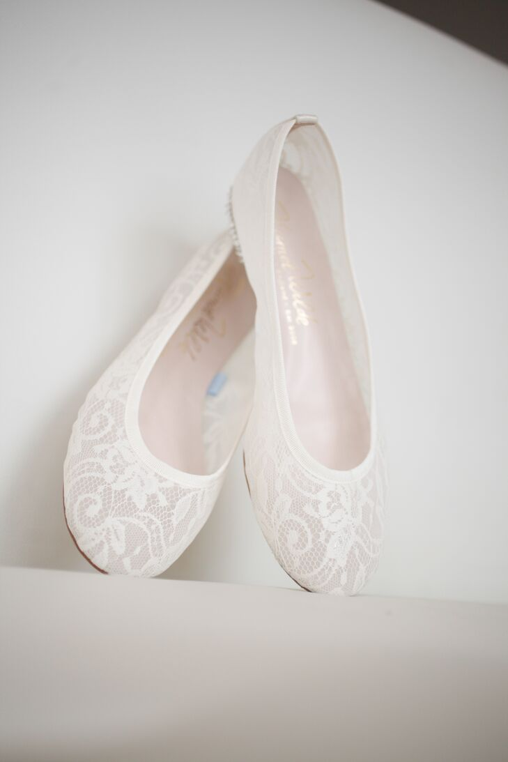 Clearwater Beach Florida White Lace Wedding Shoes