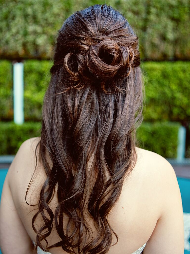 Half Up Wedding Hairstyle Ideas With Curls Flowers And Braids