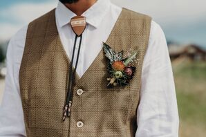 Tweed Vest with Wildflower Boutonniere