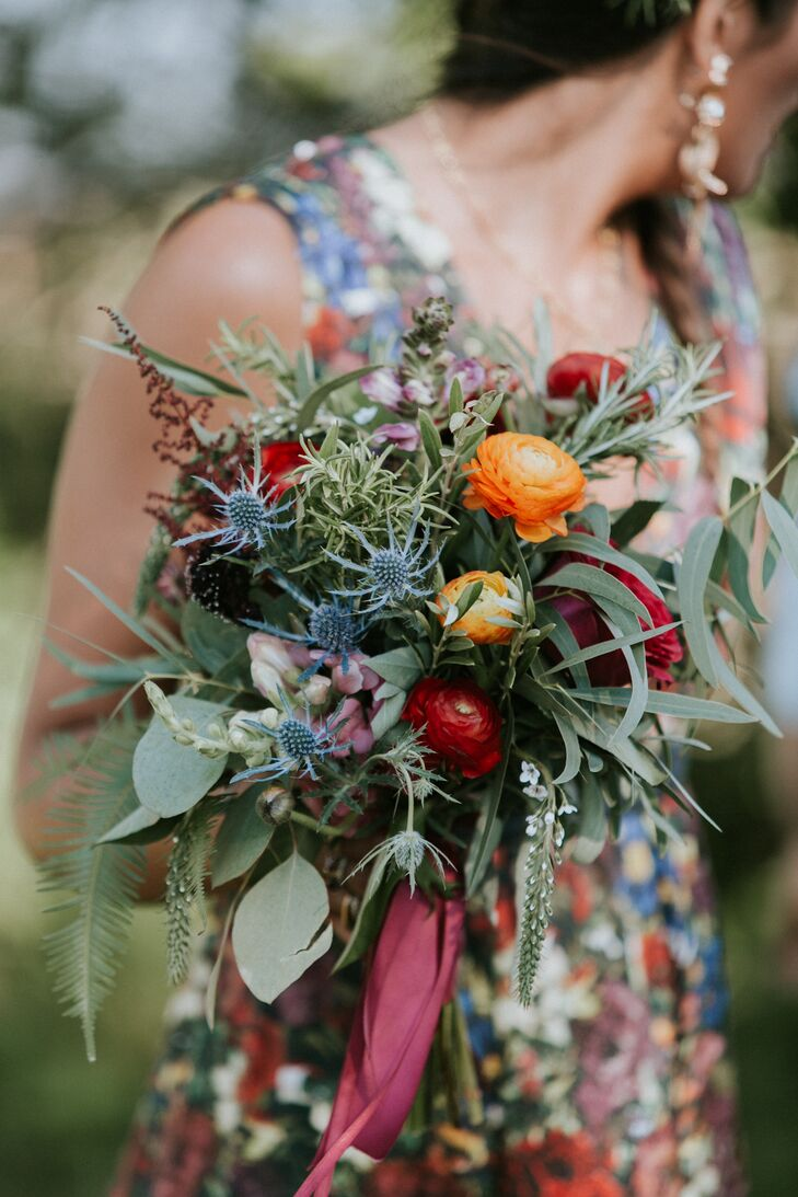 Fall Ranunculus, Thistle and Eucalyptus Bouquet