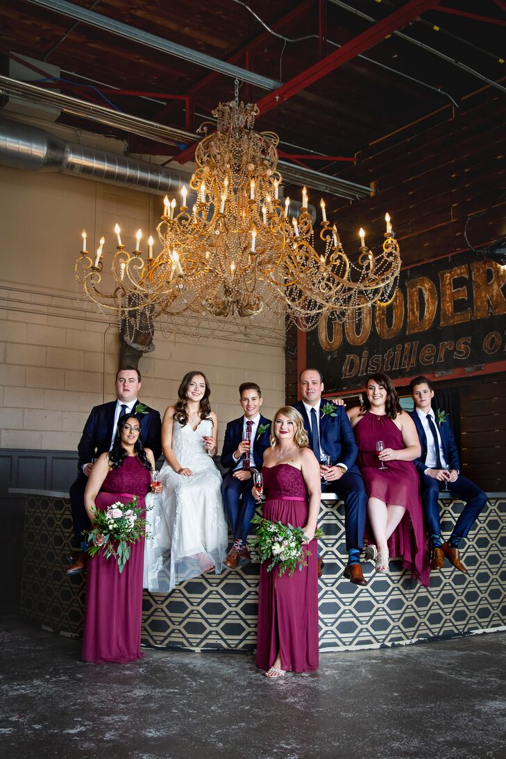 Burgundy Chiffon and Lace Bridesmaid Dresses