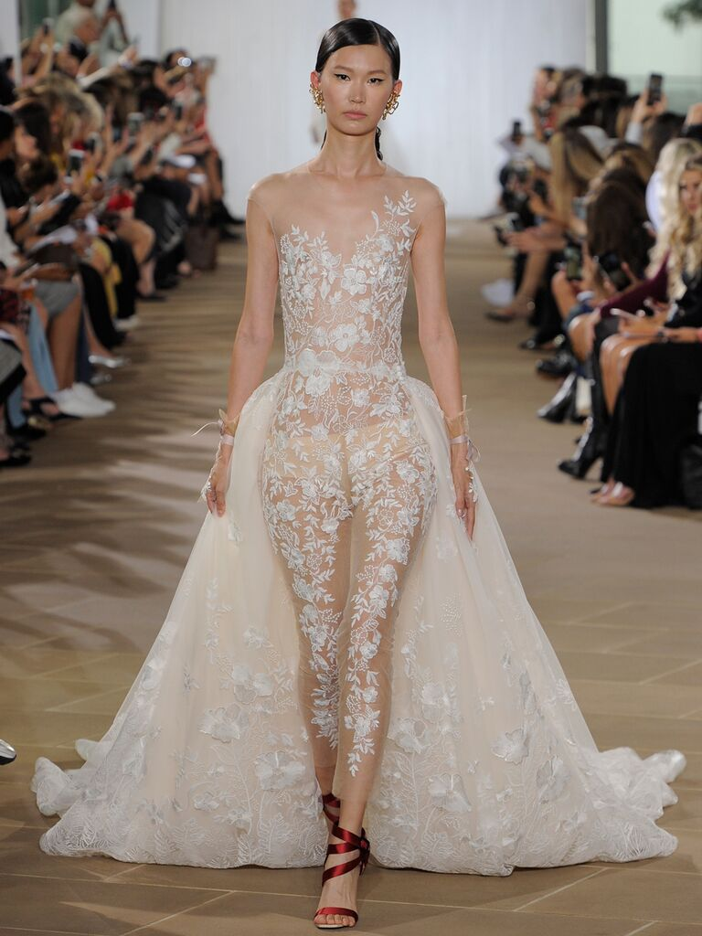 Ines Di Santo Fall 2019 sheer lace bridal jumpsuit with a dramatic train