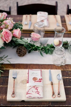 Wood Place Mats and Copper Flatware