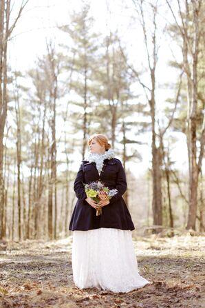 Dark Blue Coat Over Wedding Gown