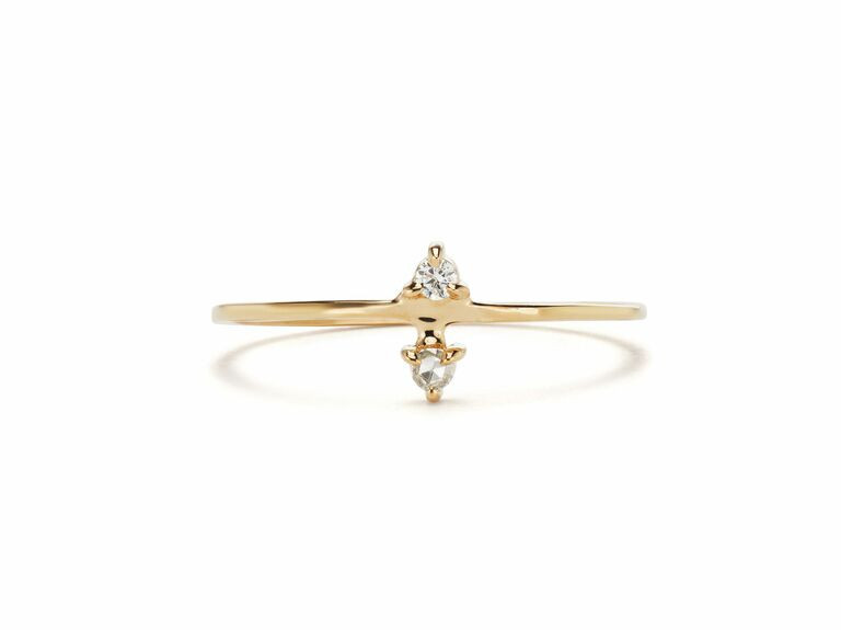 petite diamond two stone ring in yellow gold setting