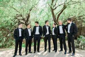 Classic Black Tuxedos for the Groomsmen