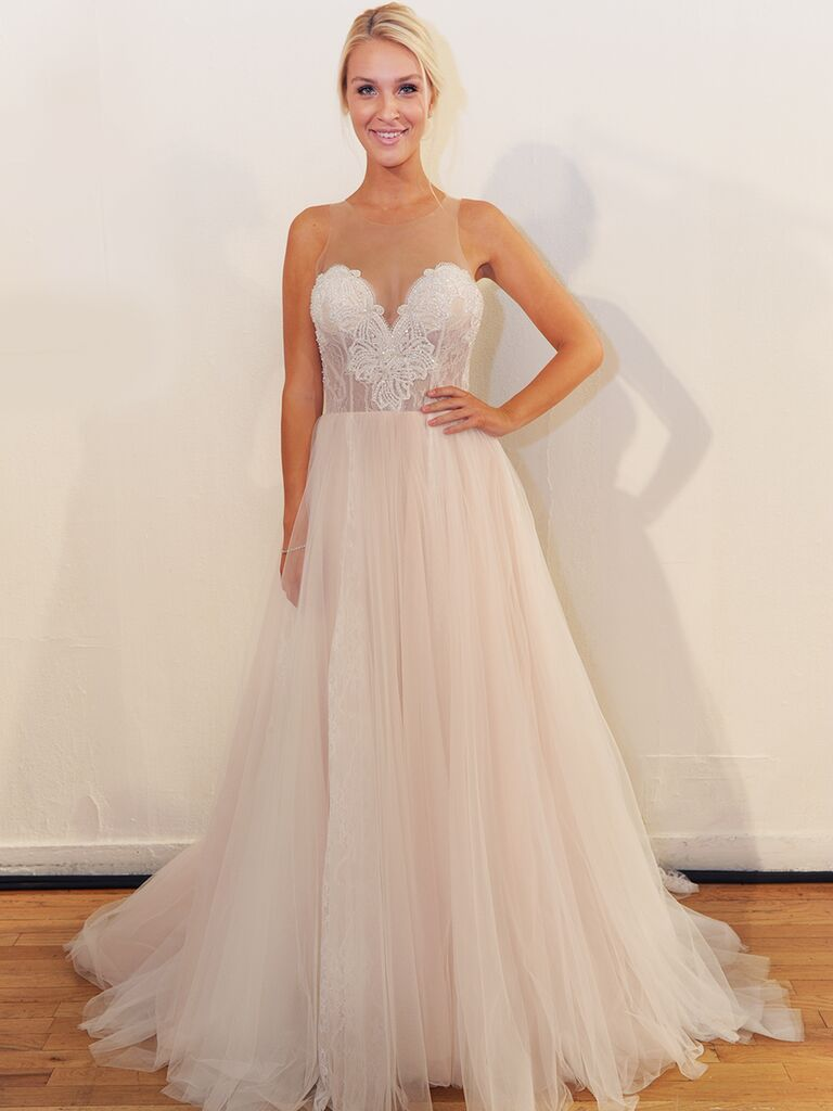 Allure Bridals Fall 2018 Wedding Dresses Blush Tulle Gown With Sheer Mesh Neckline