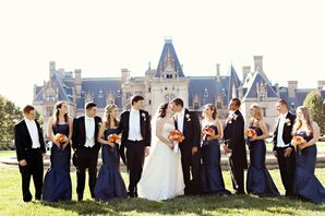 Sophisticated Navy and Orange Biltmore Estate Wedding