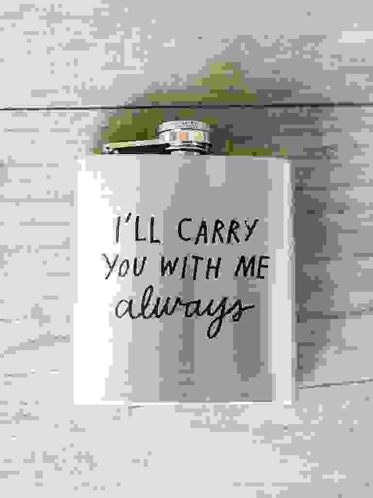 Custom flask winter wedding favor