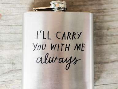 Custom flask winter wedding favor