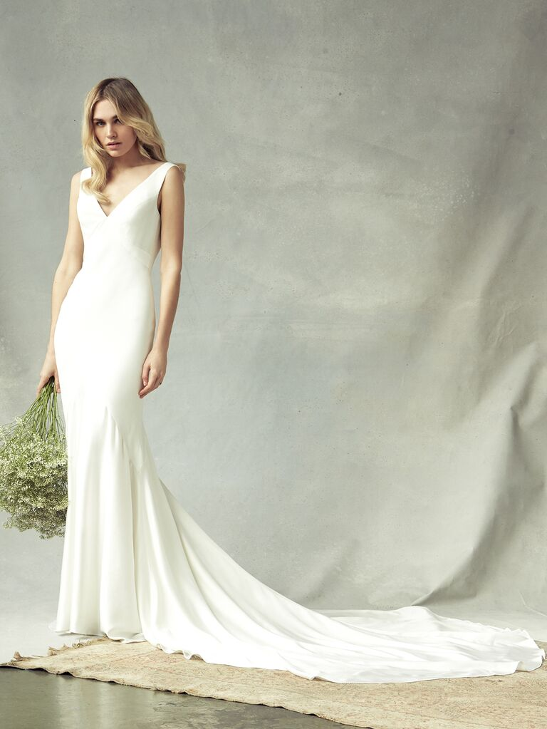 Savannah Miller Spring 2020 Bridal Collection V-neck sheath wedding dress