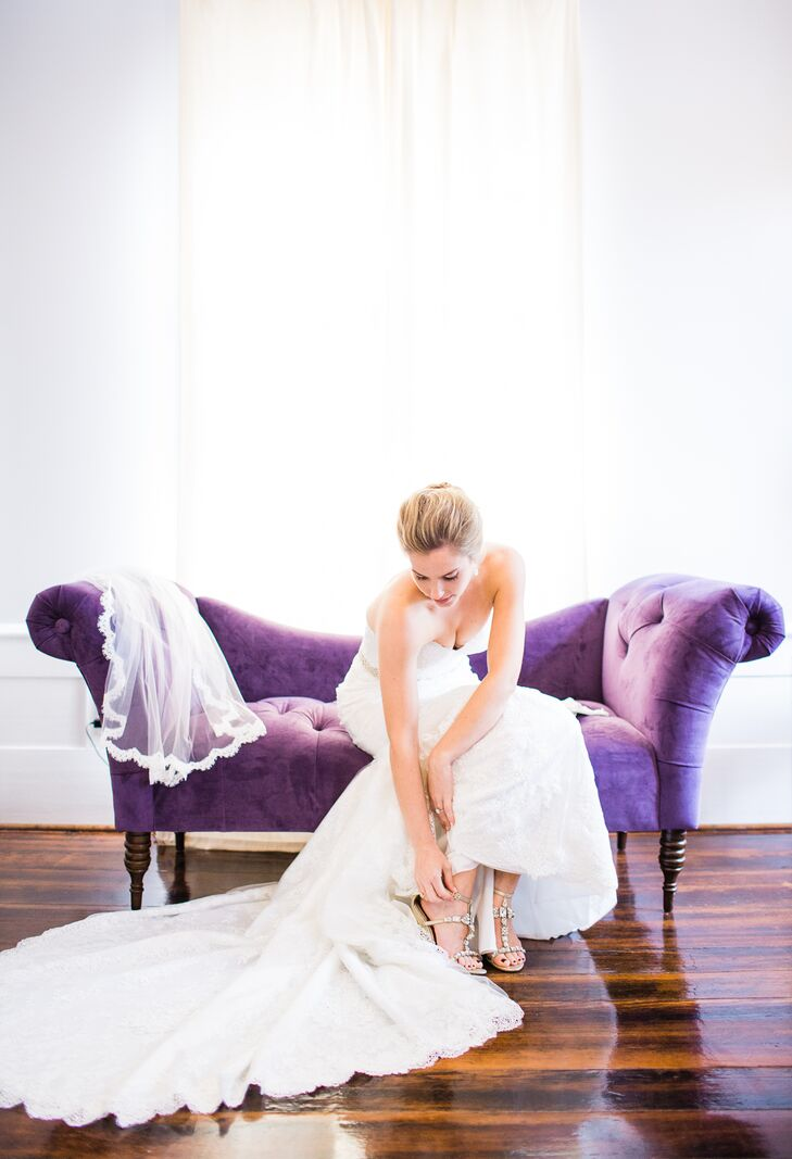 "Using sparkly gold wedge sandals to complete her look, Allison knew heels would make maneuvering across the estate's lawn tricky for the outdoor reception at Leslie-Alford-Mims House in Holly Springs, North Carolina. ""I also decided to go with a veil, and I'm so glad I did,"" she says. Her last-minute decision led her to select a veil with delicate lace-scalloped detailing that went with her lace gown."