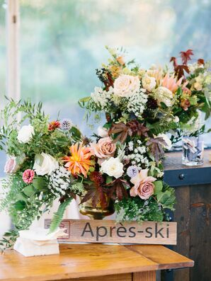 Rustic Flower Arrangements with Wood Sign