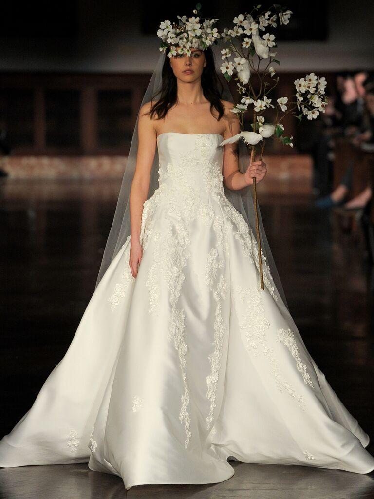 Reem Acra Spring 2019 silk strapless ball gown wedding dress