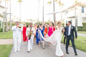 Colorful Wedding Party and Classic Second Line Processional